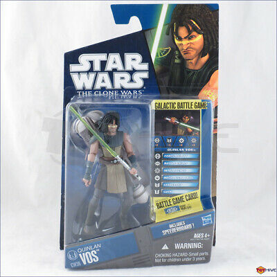 Star Wars The Clone Wars 2010 CW36 Quinlan Vos with speederboard animated figure