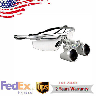 Silver Dental Loupes 3.5x 420mm Surgical Binocular Optical Glasses Magnify Equip