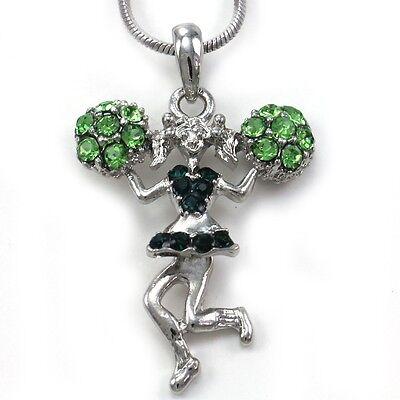 Green Crystals High School Cheerleader Cheer Girl Pom Poms Pendant Necklace q1 Crystal Pom Poms