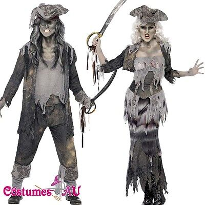 Ghost Ship Ghoulina Ghoul Costume Halloween Lady Pirate Mens Zombie Fancy Dress](Zombie Ghost Pirate Costume)