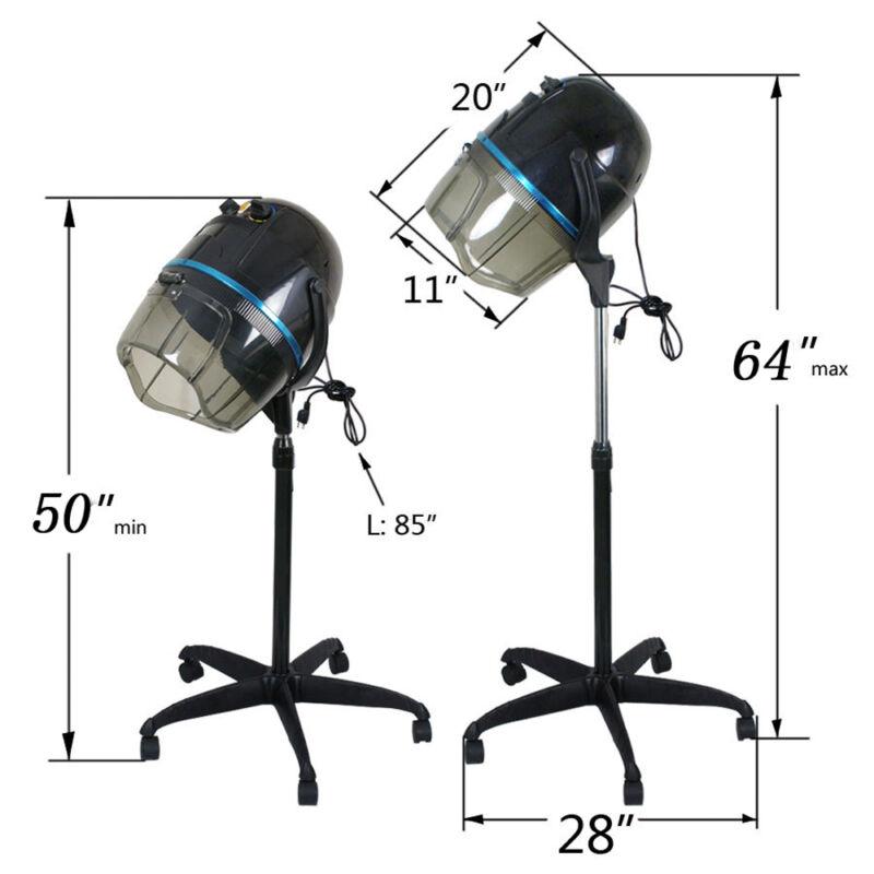 Adjustable Stand Up Hood Floor Hair Bonnet Dryer Rolling Base Salon Wheels