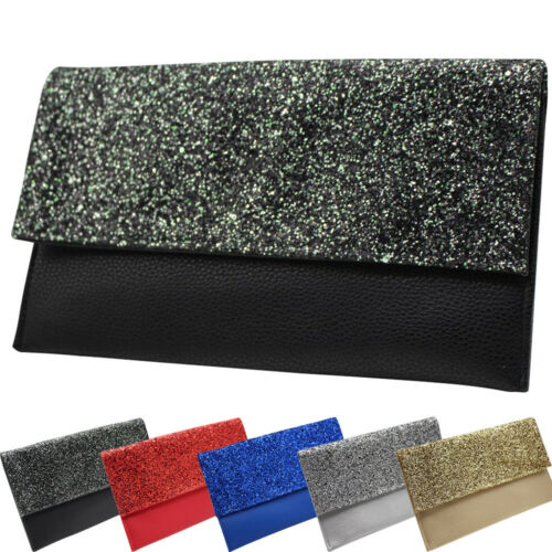 Glitter Women Party Leather Clutch Evening Bag Bridal Should