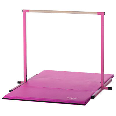 4ft Pink Non Adjustable Horizontal Junior Kip Bar and Pink Gymnastics Mat Combo, used for sale  Lansing