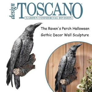 NEW Design Toscano The Ravens Perch Halloween Gothic Decor Wall Sculpture, 46 cm, Polyresin, Full Color Condtion: Ne...