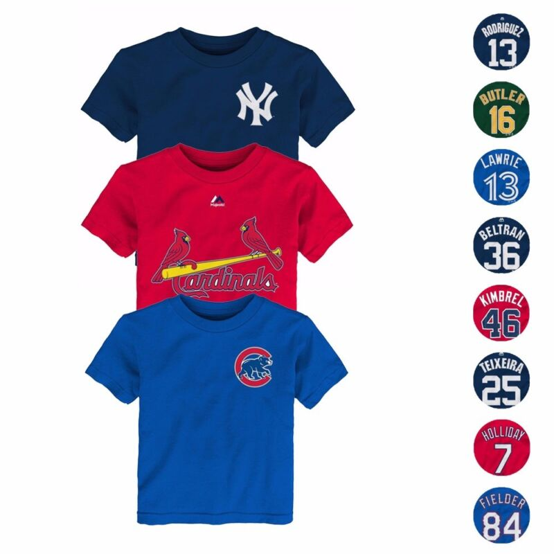 Mlb Majestic Faux Stitch Name & Number T-shirt Collection Toddler Sz (2t-4t)
