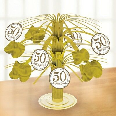 50th Wedding Anniversary Table Centerpieces (Golden Wedding Cascading Table Centrepiece Party Decoration 50th)