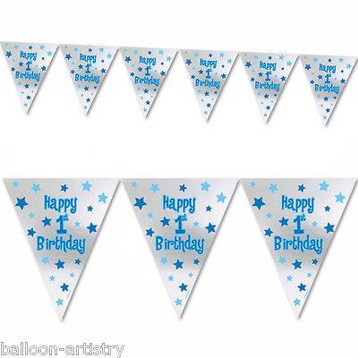 Boy's Blue & Silver Happy 1st Birthday Pennant Banner Decoration