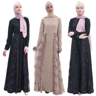 Dubai Abaya Sequins Long Dress Muslim Women Kaftan Jilbab Islamic Maxi Gown Robe