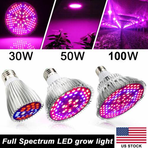 30W 50W 100W LED Grow Light Bulb E27 Full Spectrum For Hydro
