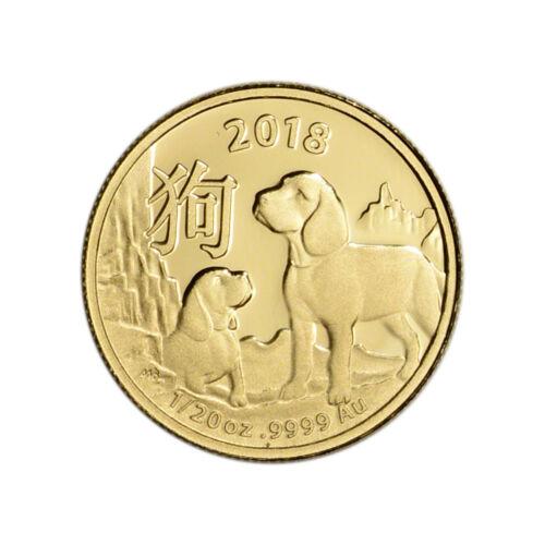 2018 Australia Gold Lunar Year of the Dog 1/20 oz $5 - BU