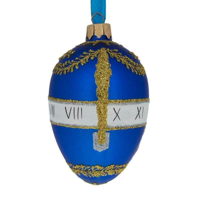 1895 Blue Serpent Clock Royal Egg Glass Ornament