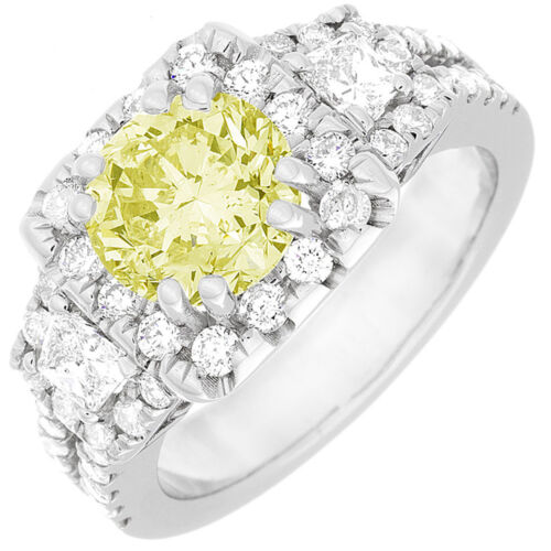 GIA Certified 3.05 CT Fancy Yellow Round Cut Diamond Engagement Ring 18k Gold