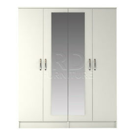 Hampton 4 door mirrored robe white finish