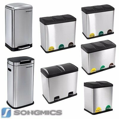 Edelstahl Recycling Mülleimer Mülltrenner Abfalleimer Tretabfalleimer Treteimer