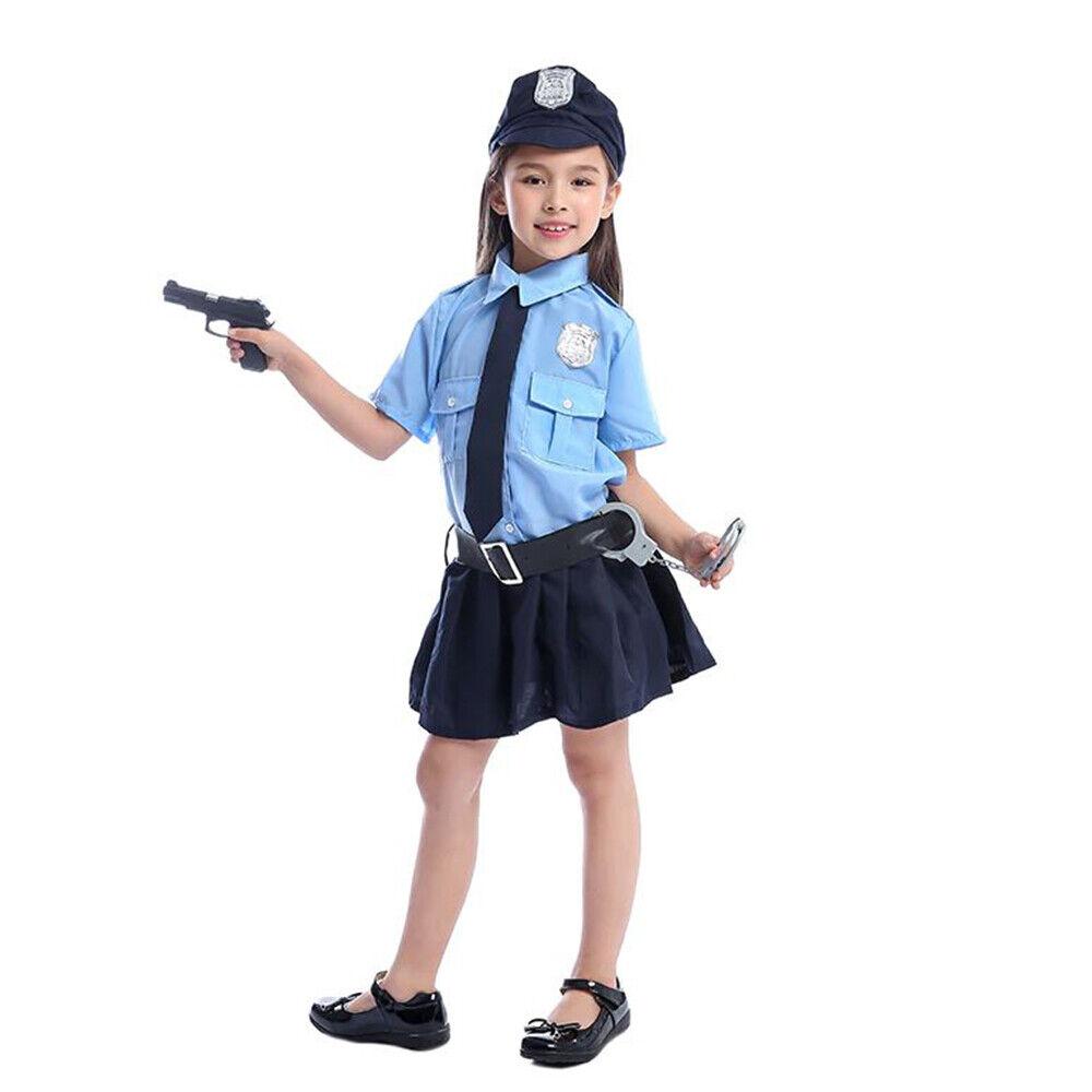 Police Costume Officer Girls Child Cop Dress Girl Present Cute Uniform Patrol