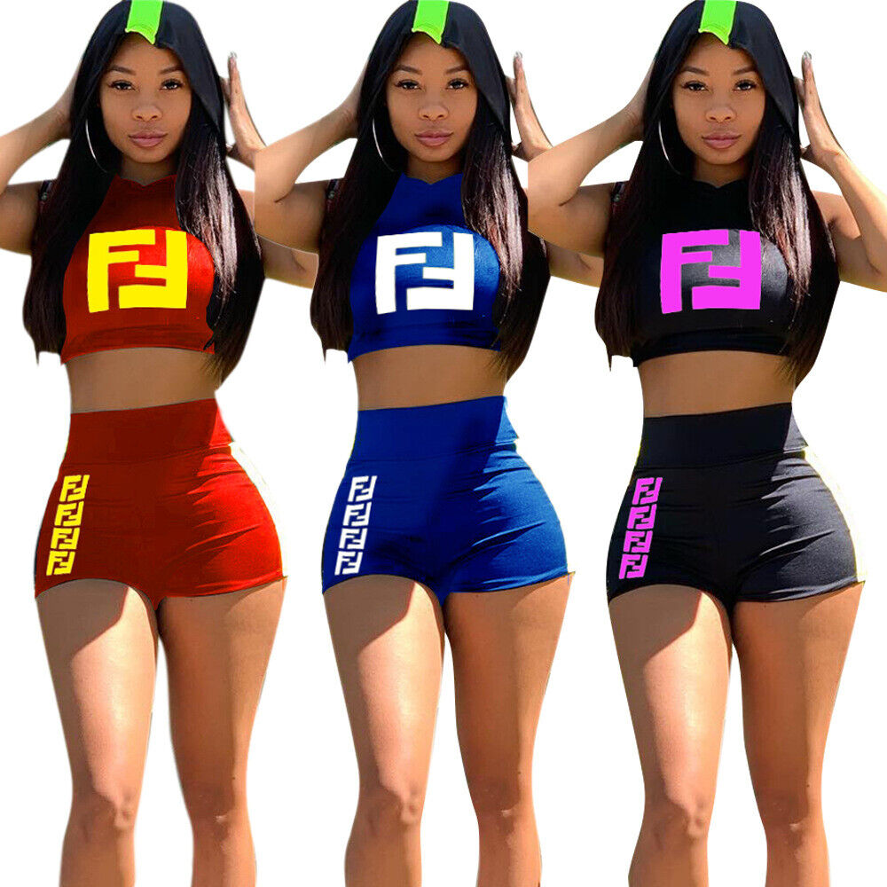 Women 2 Piece Outfits Sleeveless V-Neck Crop Top Shorts Set Casual Jumpsuit ZG9