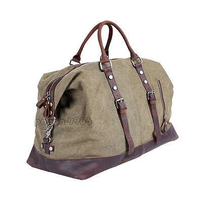 Vintage Men Genuine Leather Canvas Duffle Weekend Travel Bag Shoulder Luggage