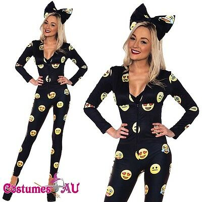 Ladies Happy Face Emoji Jumpsuit Halloween Party Fancy Dress Costume Outfit - Halloween Costume Emojis