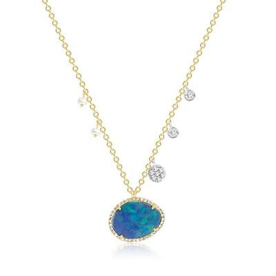 Meira T Opal Diamond   Pearl  Off Centered Necklace 14Kt Yg Brand New 16 18