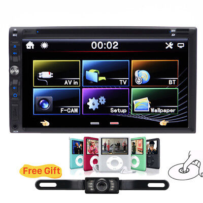7'' Double 2Din Car Stereo DVD CD Player FM Bluetooth Touch Screen Auto Radio TV