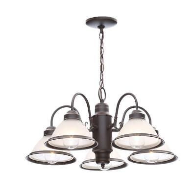 Hampton Bay Halophane Oil Rubbed Bronze Chandelier w/Frosted Ribbed Glass Shades