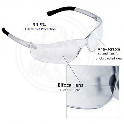 3 Pack Bifocal Safety Glasses Clear 1.5 Diopter Reader Safety Glasses