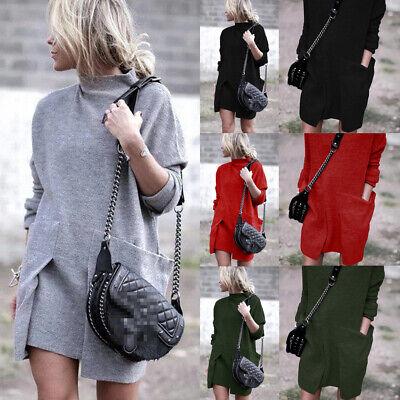 UK Women Ladies Baggy Sweater Jumper Mini Dress Winter Long Pullover Top Pockets