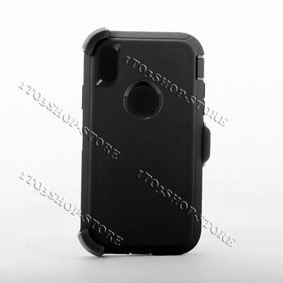 iPhone XR Shockproof Hard Case w/Holster Belt Clip Fits Otterbox Defender Black