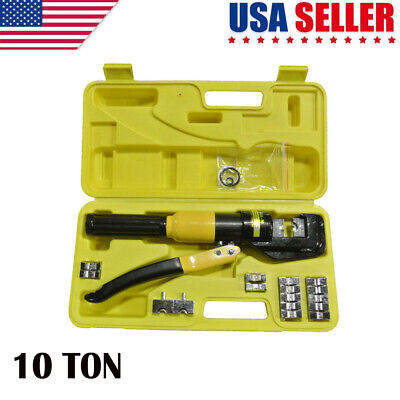 10 Ton Hydraulic Wire Battery Cable Lug Terminal Crimper Crimping Tool W9 Dies