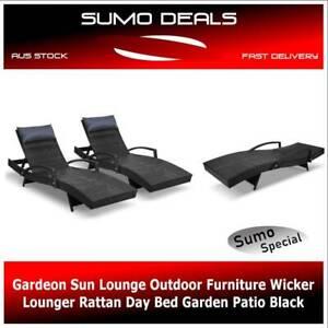 Gardeon Sun Lounge Outdoor Furniture Wicker Lounger Rattan Day