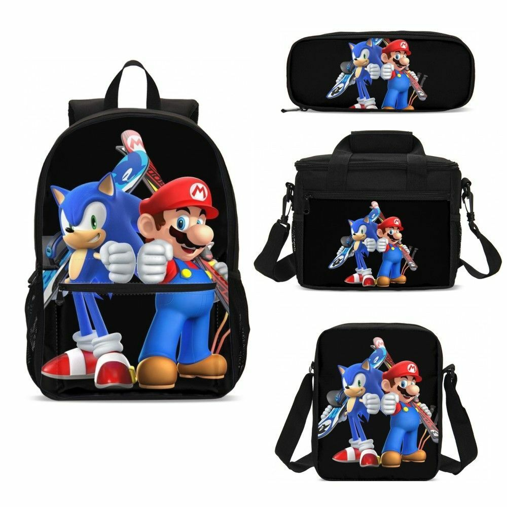Super Mario Kids Large Backpack Schoolbag Boys Insulated Lunch Bag Pen Case Lot
