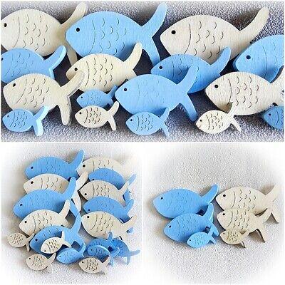 Maritime Streu deko Fisch Artikel Teile blau natur - Set 18 Stck- Holz Tischdeko
