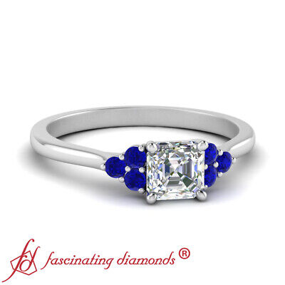 3/4 Carat Asscher Cut Diamond And Sapphire Cathedral Engagement Ring FLAWLESS