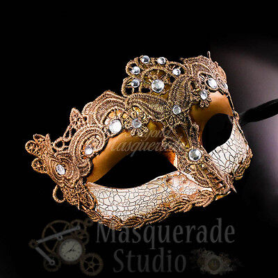 Venetian Brocade Lace Prom Party Masquerade Mask with Clear Rhinestones [Gold]