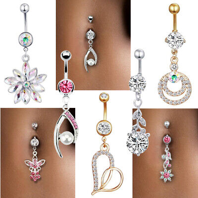 Navel Belly Button Ring Crystal Flower Dangle Bar Barbell Body Piercing Jewelry Crystal Flower Belly Ring
