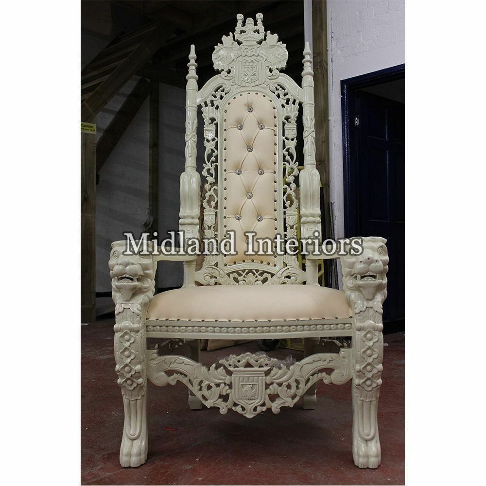 2 x new lion king throne chair 175cm ivory white asian wedding queen french ornate luxury