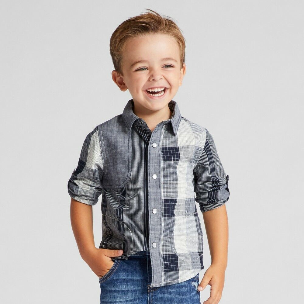 Genuine Oshkosh Toddler Boys Button Down Long Sleeve Shirt – Gray Plaid – 2T Baby
