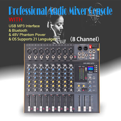 Mixing Console Professional Audio Stereo - 8 Channel  Professional Stereo Mixer Audio Mixing Console Sound Console Desk