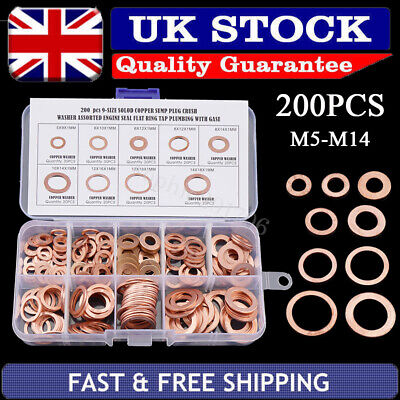 200X Assorted M5-M14 Crush Copper Washer Gasket Set Flat Ring Seal Kit With Box