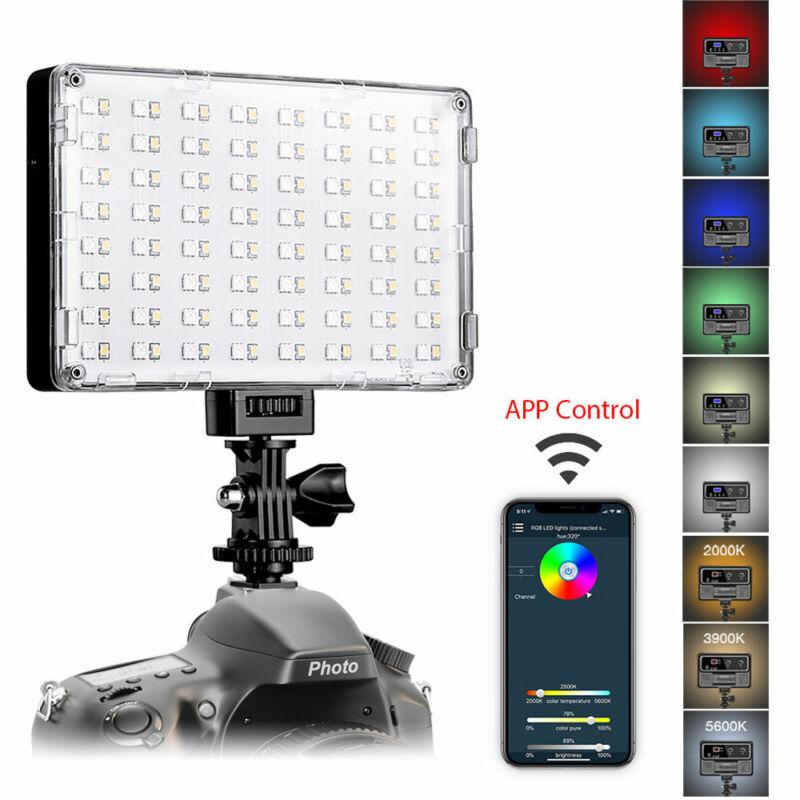 GVM RGB LED On Camera Photographic Lighting Photo Studio 128 Beads Tripod WiFi