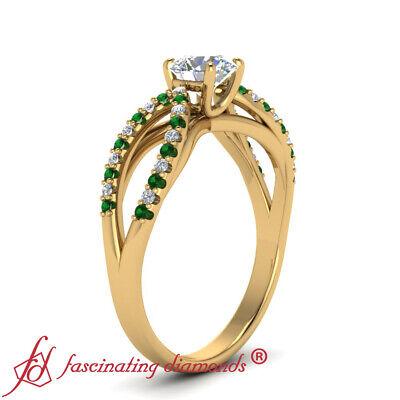 Round Cut Diamond And Emerald Gemstone Split Band Gold Engagement Ring 0.90 Ctw 2