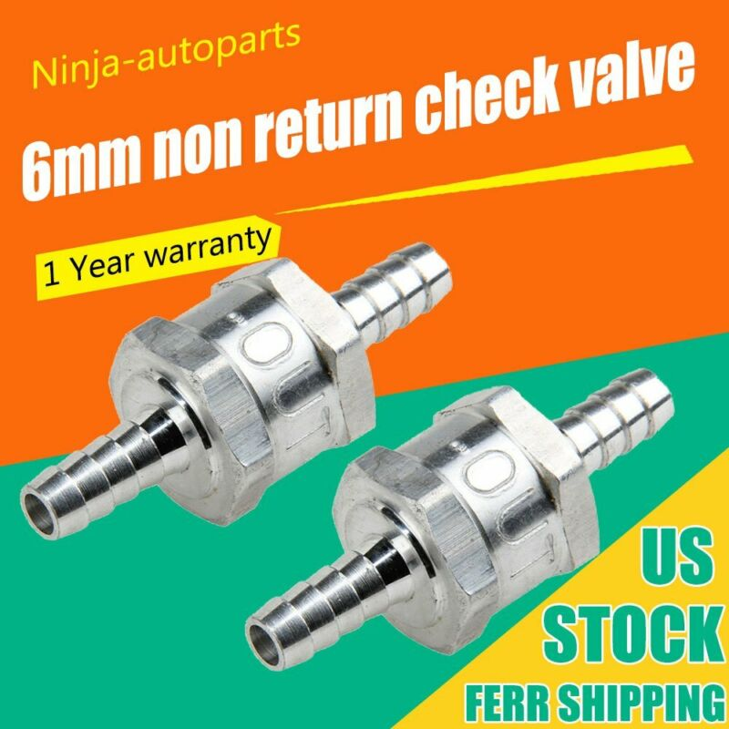 2pcs 6MM Non-Return One Way 1/4 Inch Air Fuel Oil Check Valve Diesel Gas P4I4 US