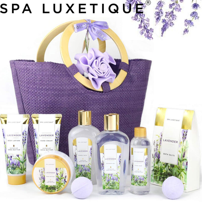 10Pcs Lavender Spa Gift Basket - Home Bath and Body Set in Weaved Basket for Her