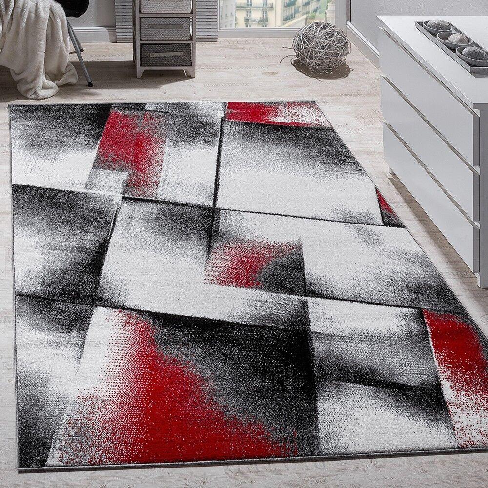 Designer Teppich Modern Wohnzimmer Teppiche Kurzflor Meliert Rot Grau  Schwarz