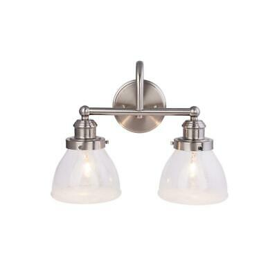 NEW!!  HAMPTON BAY 2-Light Brushed Nickel Vanity Light with Clear Seeded Glass -