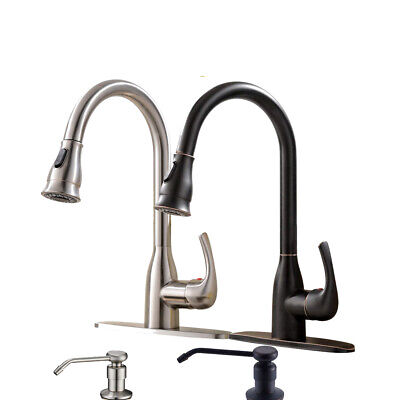 Kitchen Sink Faucet Single Handle Swivel Spout Pull Out Sprayer Mixer Tap