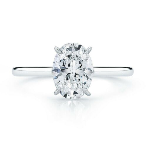 1.00 Carat Solitaire Diamond Engagement Ring Platinum Oval Shape GIA Certified