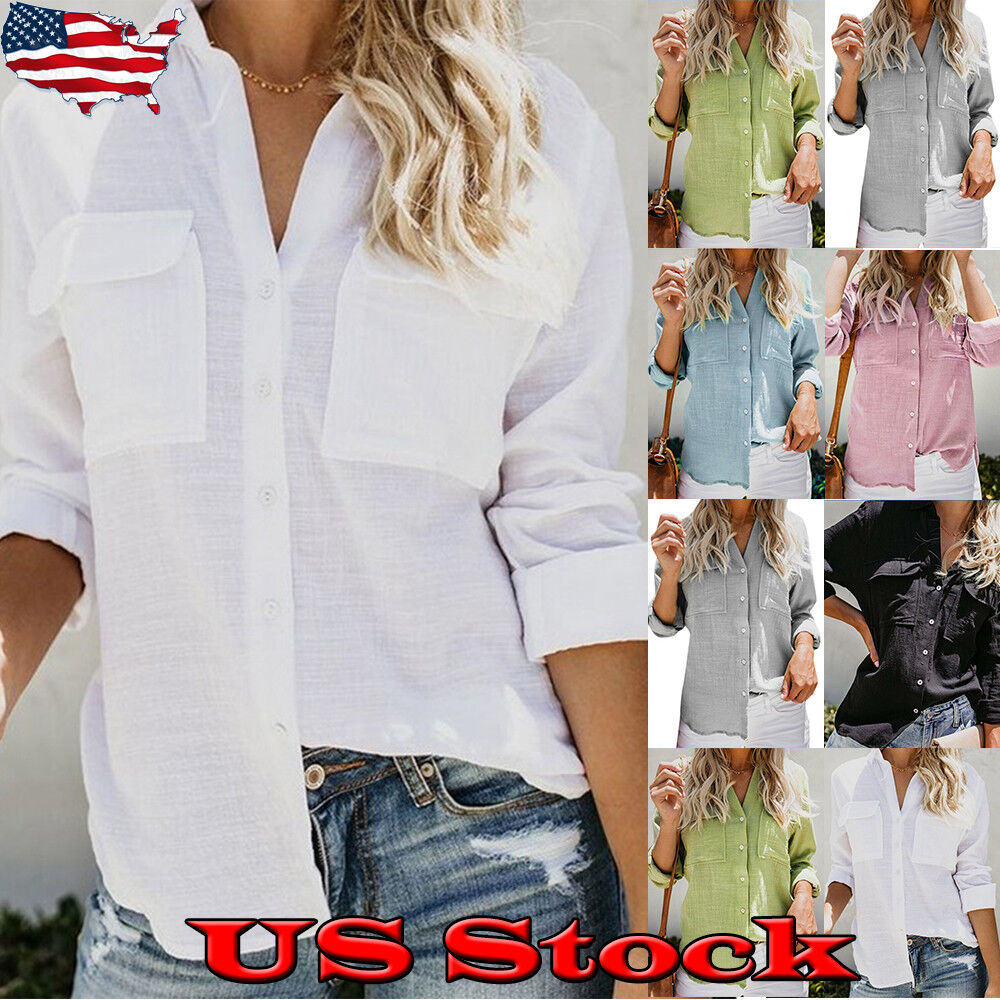 Womens Cotton Long Sleeve Tops Lady Button Down Casual Blous