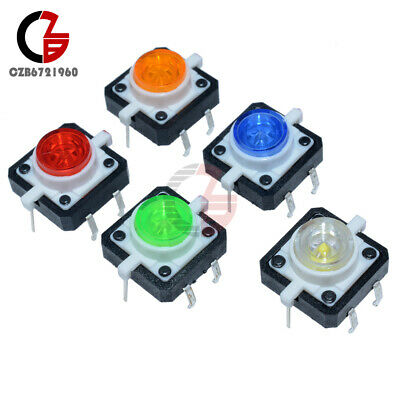 5pcs 5 Color 12x12x7.3mm Tactile Push Button Switch Momentary Tact Led
