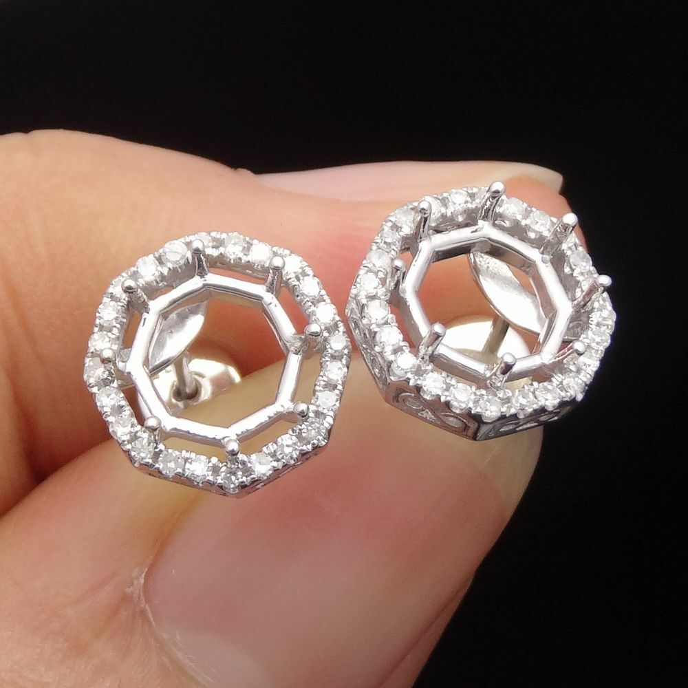 Natural Diamond Deco Engagement Semi Mount Earrings 8-9mm Round 10K White Gold
